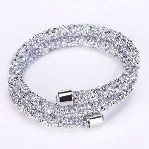 Double Loop Crystal Pave Rhinestone Bracelet